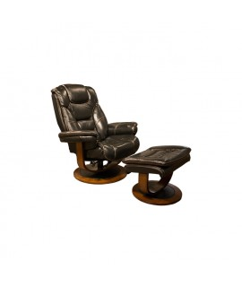 Otto Black Leather Chair with Ottoman